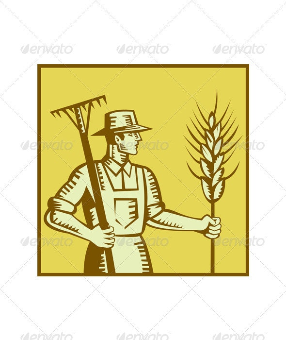 Farmer With Rake and Wheat Woodcut - Industries Business