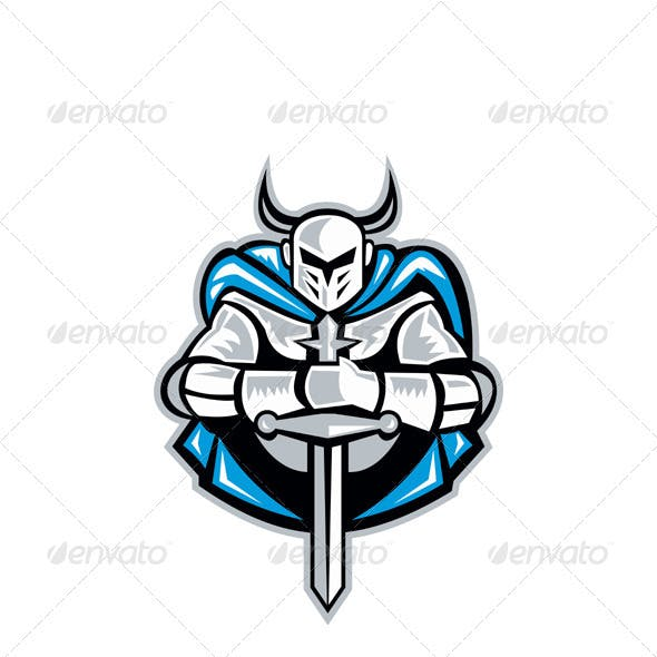 Knight With Sword And Cape Front Retro