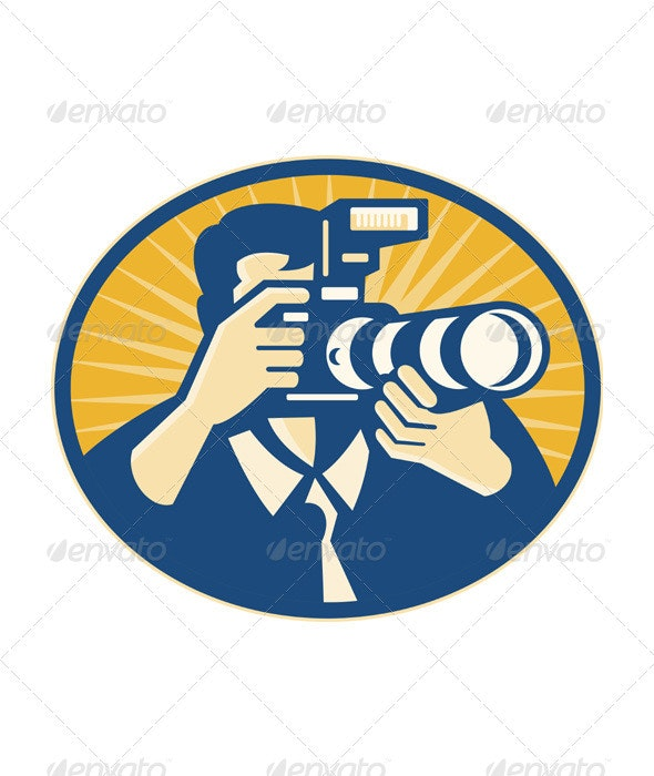 Photographer DSLR Camera Shooting Retro - People Characters