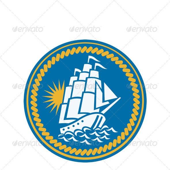 Sailing Tall Ship Galleon Retro