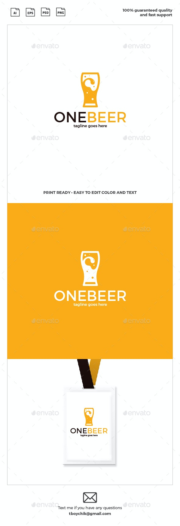 One Beer Logo - Restaurant Logo Templates