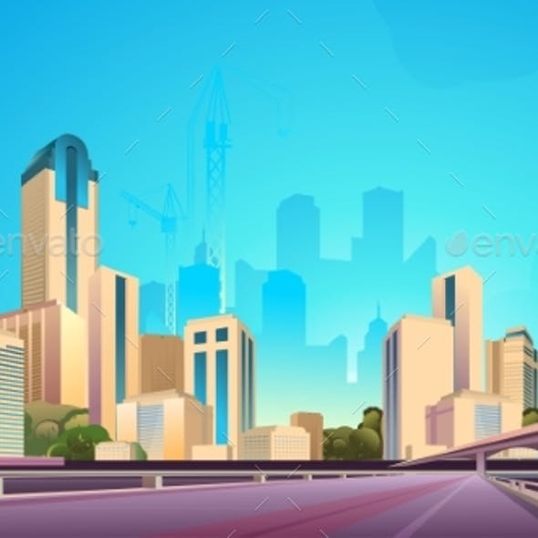 City Street Buildings, Skyline View