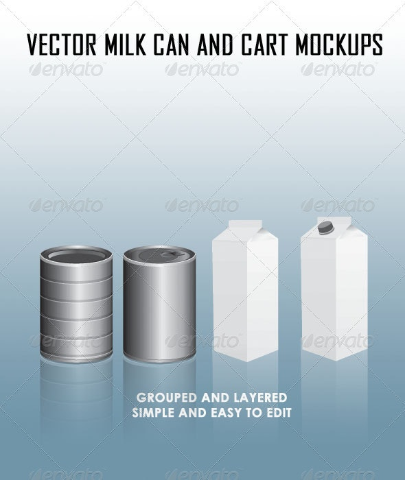 Milk Can and Carton - Objects Vectors