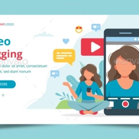 Female Video Blogger on Smartphone Screen