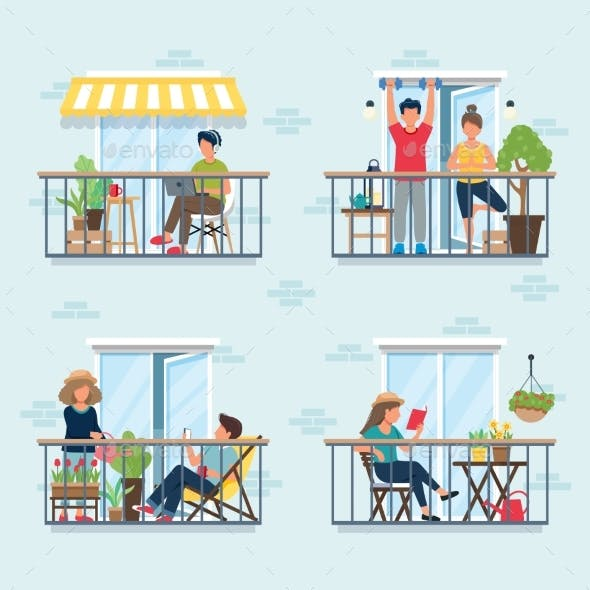 People on Balcony, Social Isolation Concept. Stay