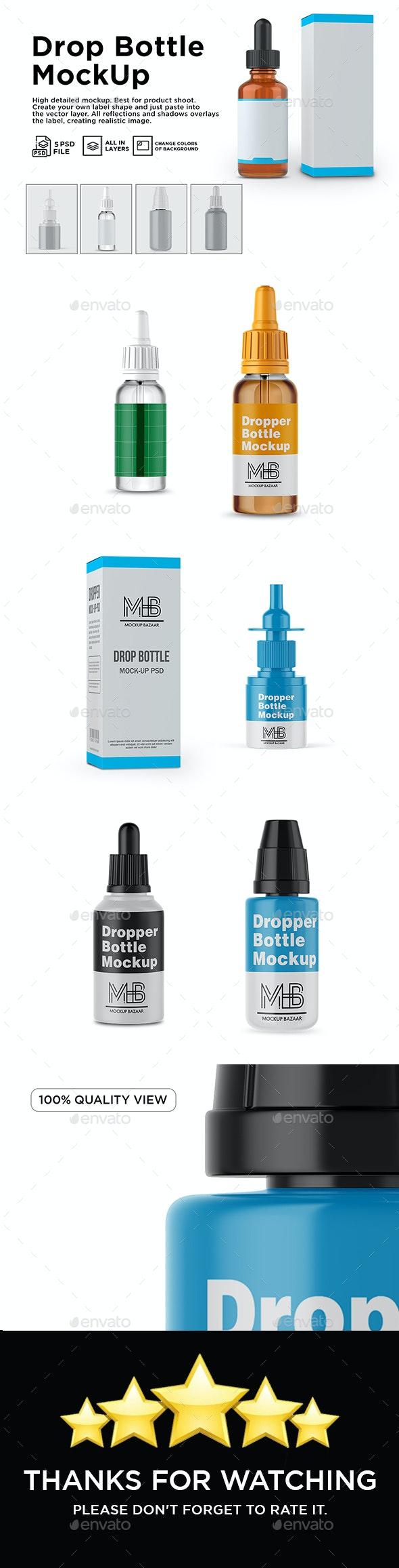 Dropper Bottle & Box Mockup - Product Mock-Ups Graphics