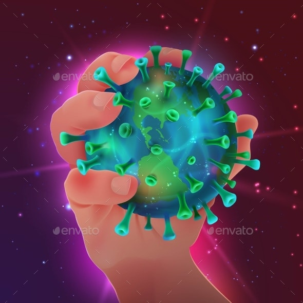 Vector Illustration of Planet Earth Looking Like Virus - Miscellaneous Vectors
