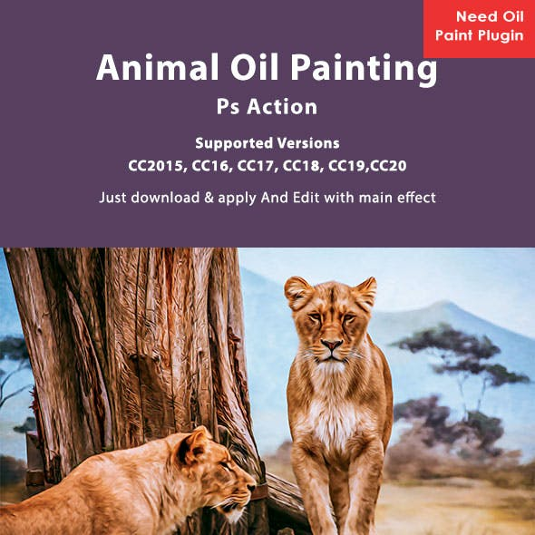Animal Oil Painting Photoshop Action