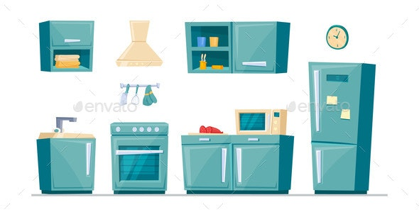 Kitchen Furniture Cartoon Set - Man-made Objects Objects