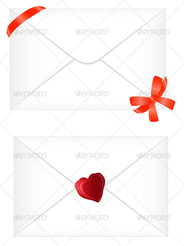 White Envelope with Red Ribbon and Seal - Valentines Seasons/Holidays