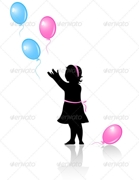 Little Girl with Flying Colored Balloons - People Characters
