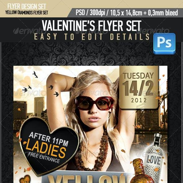 Yellow Diamonds Valentine's Flyer