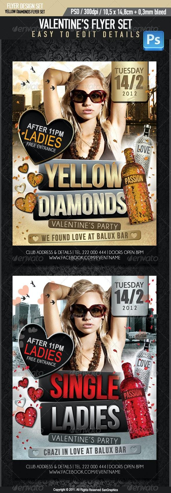 Yellow Diamonds Valentine's Flyer - Clubs & Parties Events