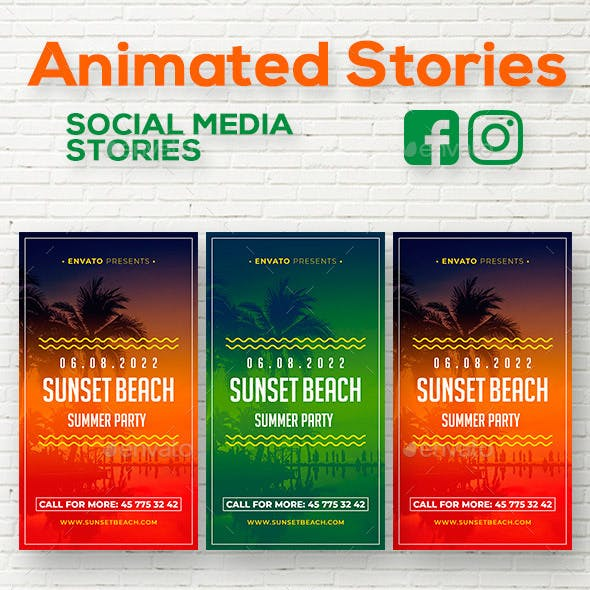 Summer Animation Social Media Stories