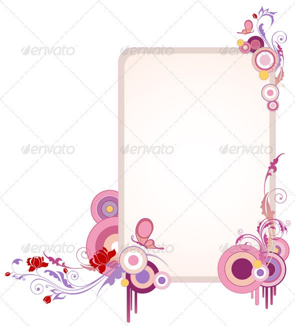 Banner with Floral Ornament and Butterfly - Backgrounds Decorative