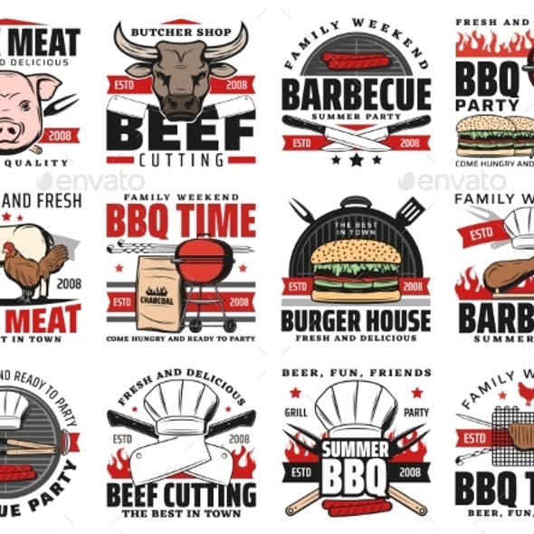 Barbecue and Grill Meat BBQ Party Icons