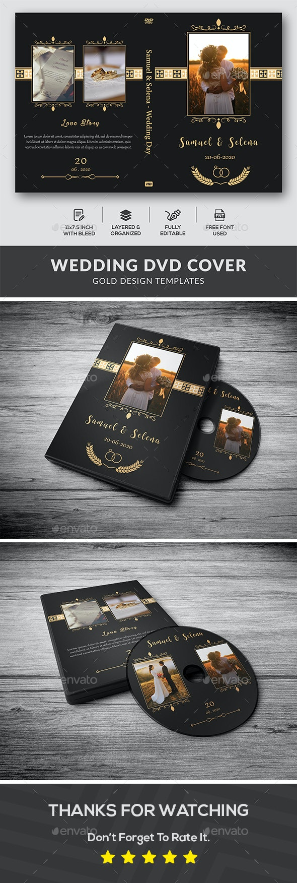 Wedding DVD Cover - Gold Design - CD & DVD Artwork Print Templates