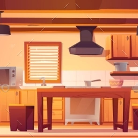 Vector Kitchen Interior in Rustic House