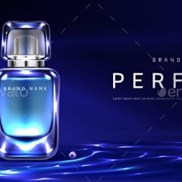 Perfume Bottle on Night Water Surface Background