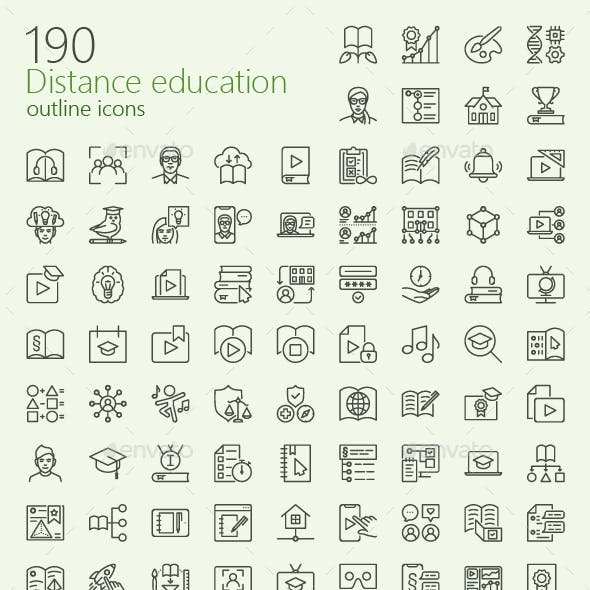 Distance education outline iconset