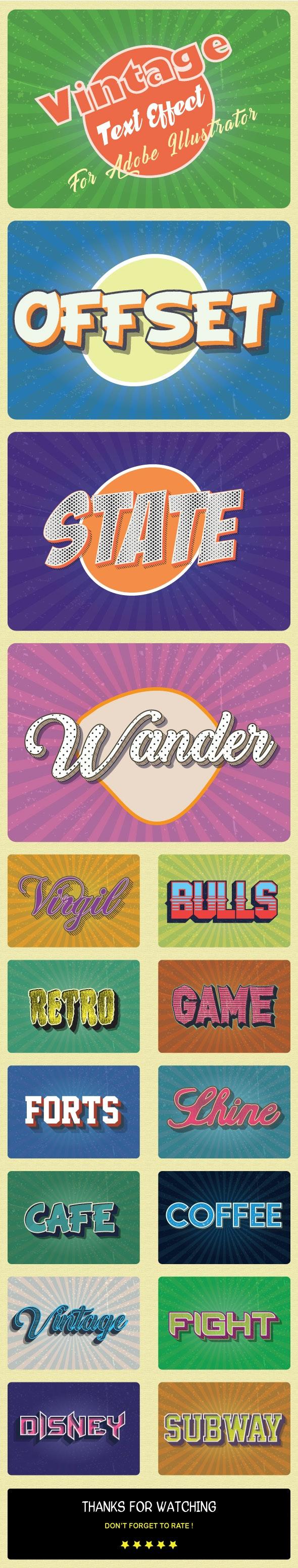 Vintage Text Effect For Adobe Illustrator - Styles Illustrator