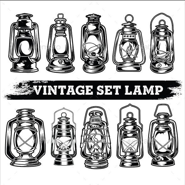 Camping Set Lamp Vintage Black and White