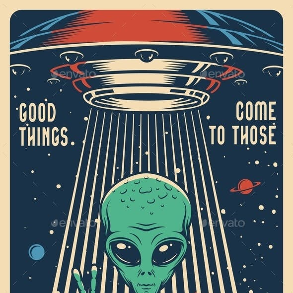 Vintage Colorful Space Poster