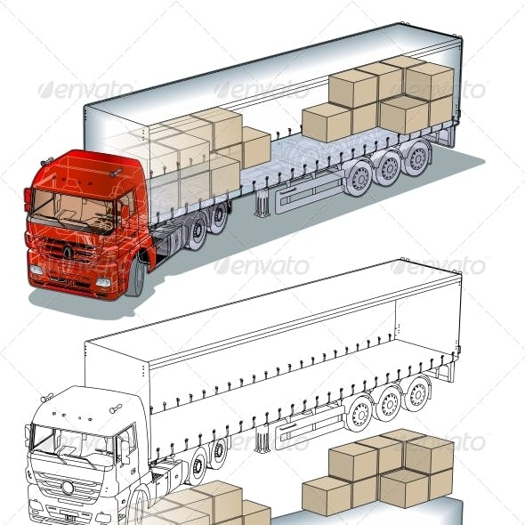 Cargo Truck Infographics Cutaway