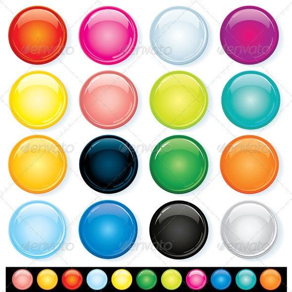 Colored Badges - Web Elements Vectors
