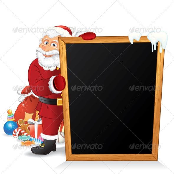 Santa with Gifts and Chalkboard