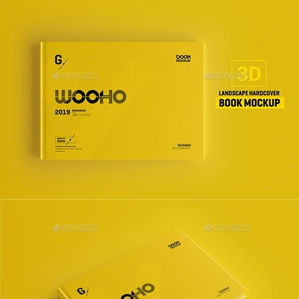 Landscape Book Mockup / Hardcover