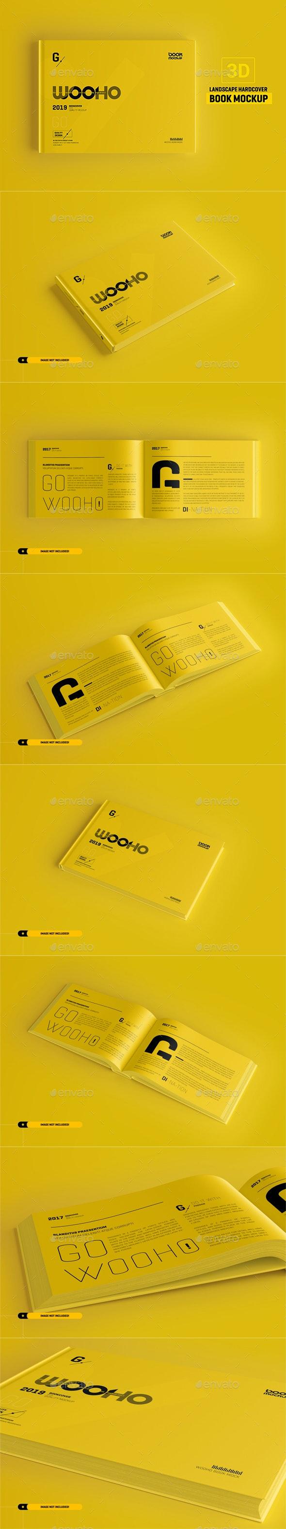 Landscape Book Mockup / Hardcover - Books Print