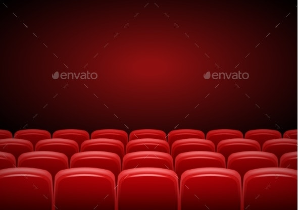 Cinema Hall Mock Up with Red Seats - Man-made Objects Objects
