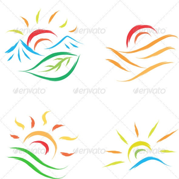 Set of Sun Symbols - Miscellaneous Vectors