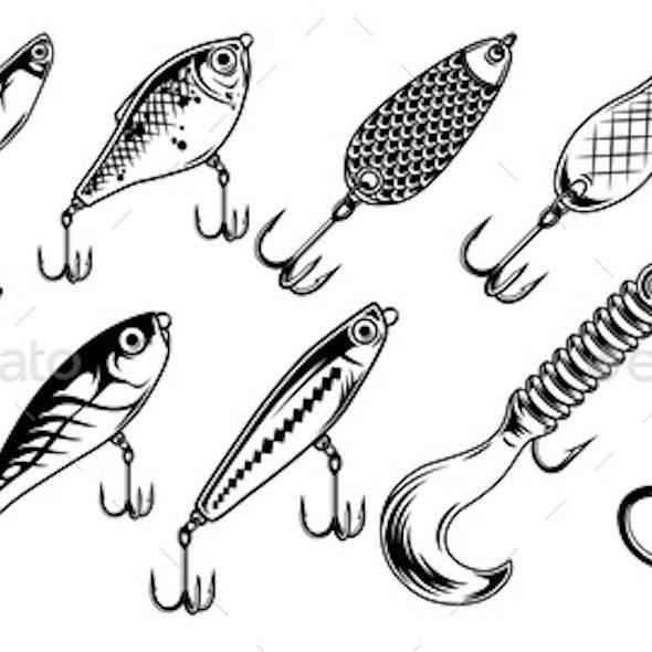 Vintage Fishing Lures Monochrome Set