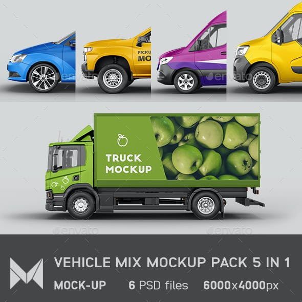 5 in 1 Vehicle Mix Mockup Pack Vol 2