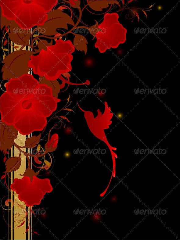 Floral Background with Red Flowers - Backgrounds Decorative