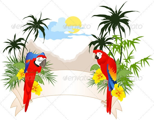 Summer Banner with Parrots - Animals Characters