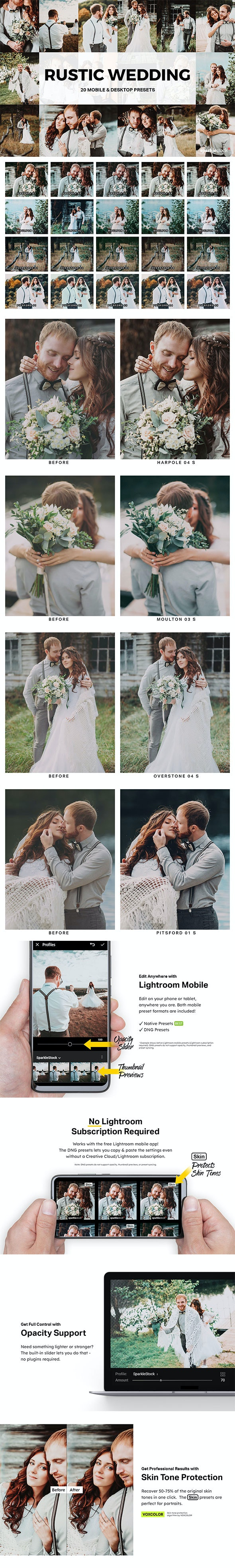 20 Rustic Wedding Lightroom Presets and LUTs - Wedding Lightroom Presets
