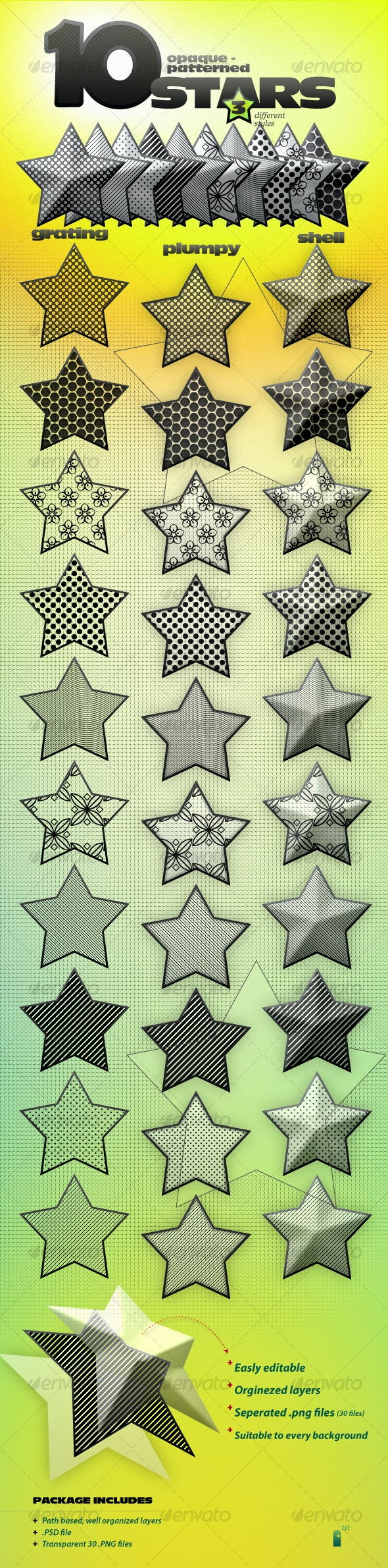 Opaque Stars With 10 Patterns and 3 styles - Miscellaneous Graphics
