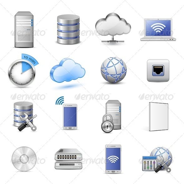 16 Highly Detailed Cloud Computing Vector Icons