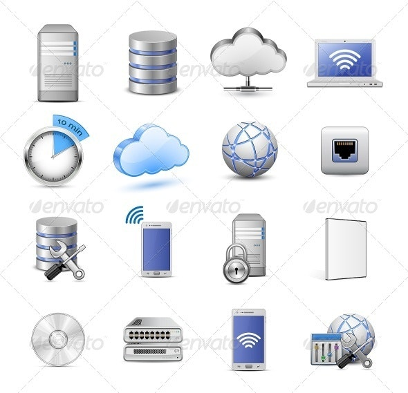 16 Highly Detailed Cloud Computing Vector Icons - Computers Technology