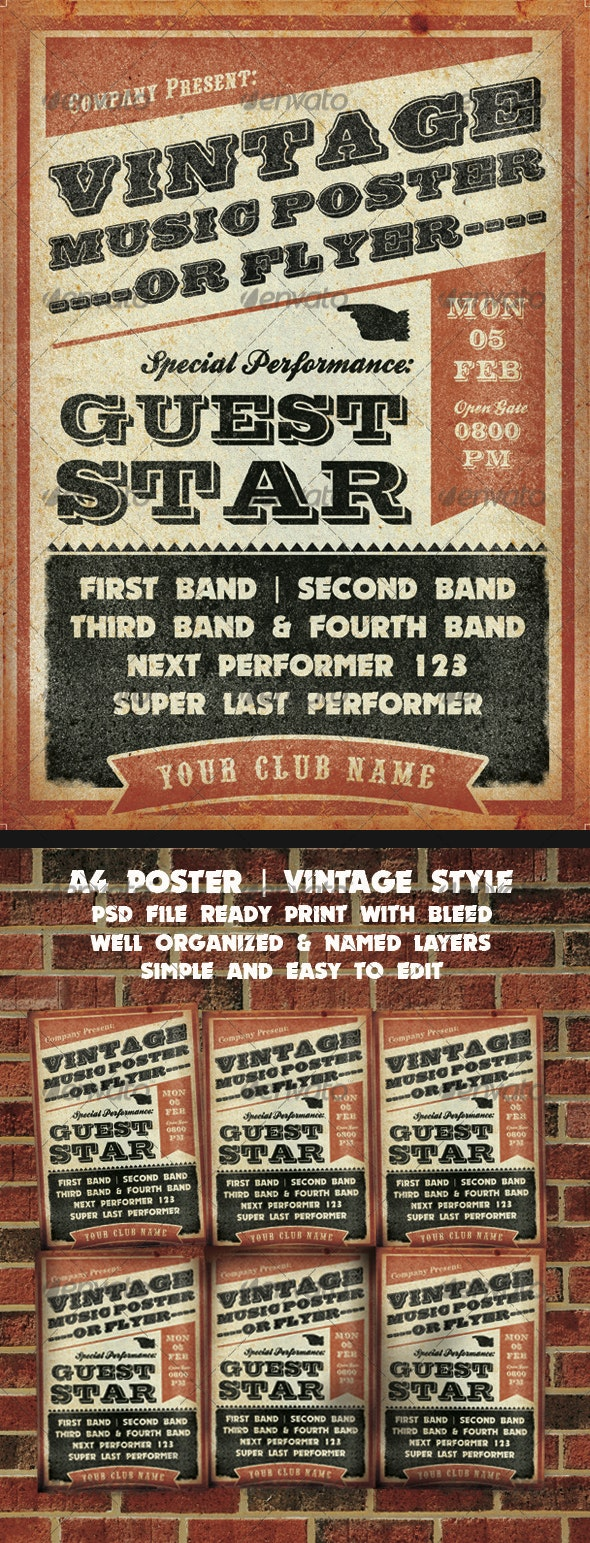 Vintage Music Poster Template - Concerts Events