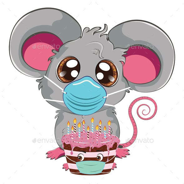 Kawaii Mouse in Face Mask with Cake