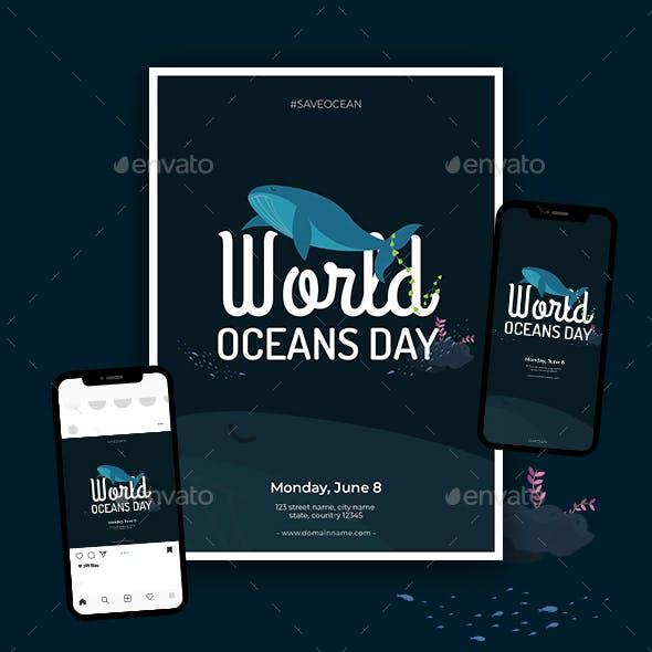World Oceans Day Flyer Set