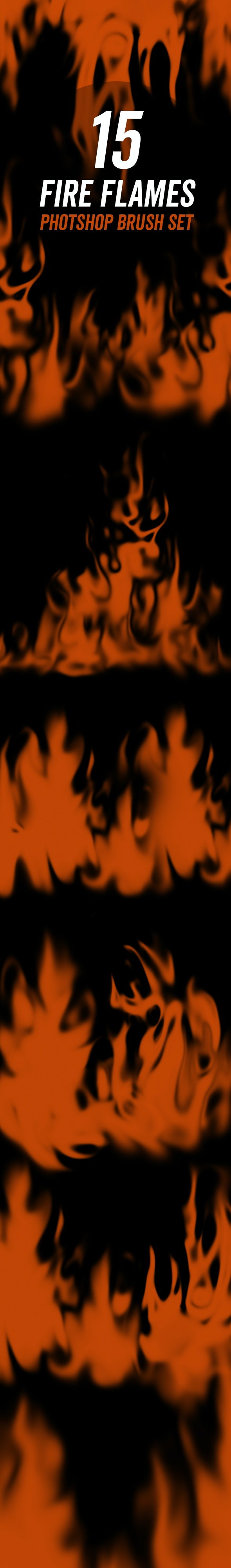 15 Fire Flames Brush Set - Brushes Photoshop