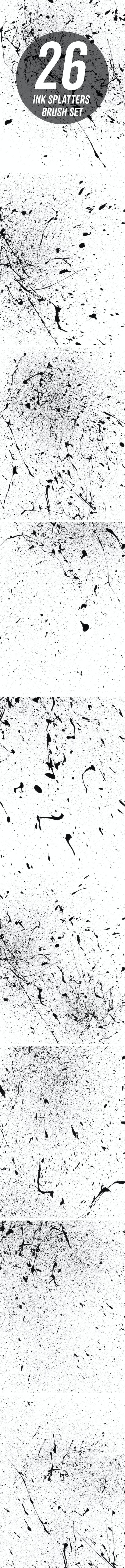 26 Ink Splatters Photoshop Brush Set - Brushes Photoshop