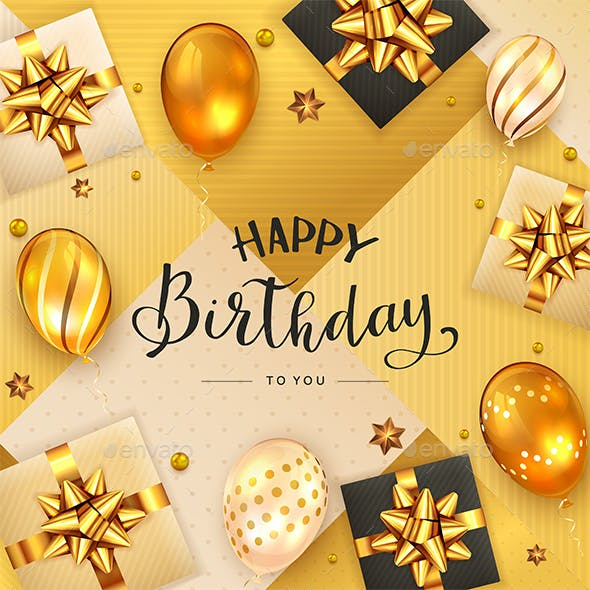 Gold Background with Birthday Balls and Gifts