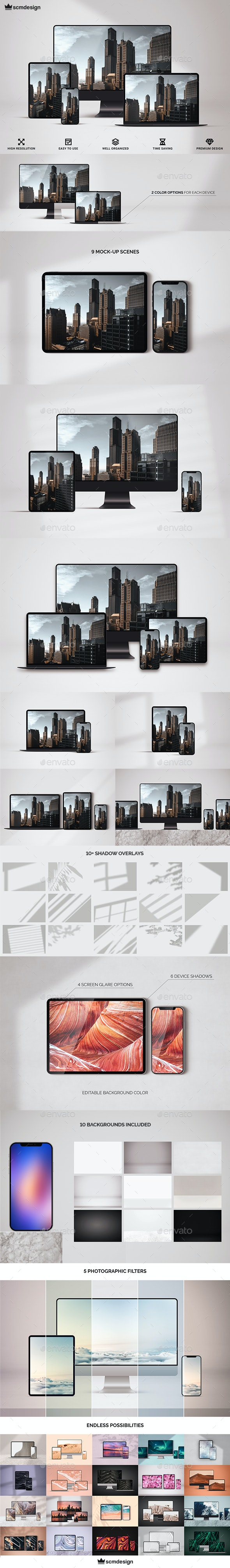 Multi Device Responsive Screen Mock-up - Displays Product Mock-Ups