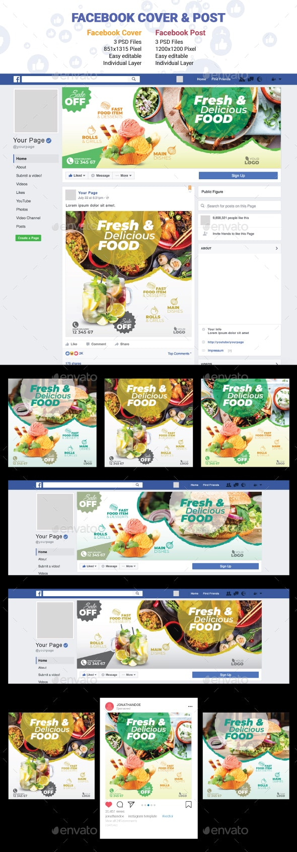 Restaurant Facebook Cover & Post - Social Media Web Elements